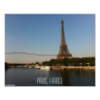 Paris, France – Skywriters fly by the Eiffel Tower Poster