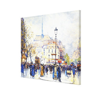 Paris France Street Scene Wrapped Canvas Print