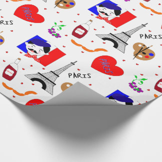 Paris France Themed Cute Fun Red White Blue Design Wrapping Paper