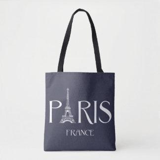 """""""Paris - France - Tour Eiffel"""" Typography Tote Bag"""