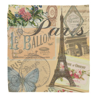 Paris France Vintage Travel Collage Head Kerchiefs