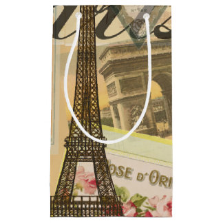 Paris France Vintage Travel Collage Small Gift Bag