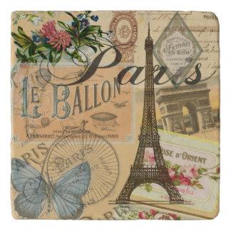 Paris France Vintage Travel Collage Trivet