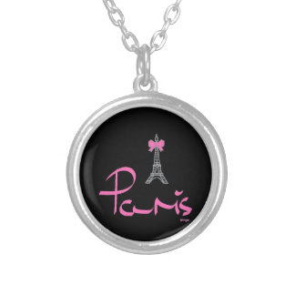 Paris,-France-with-Pink-Bow Silver Plated Necklace