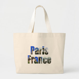 Paris France with tourist attractions Large Tote Bag