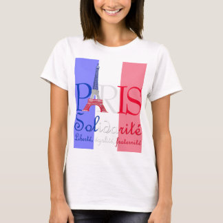 Paris French Flag Eiffel Tower Solidarité Liberté T-Shirt