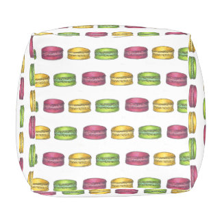 Paris French Food Pink Yellow Macaron Cookies Pouf