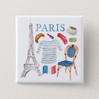 Paris French Watercolor Doodles Pin