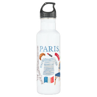 Paris French Watercolor Doodles Waterbottle 710 Ml Water Bottle