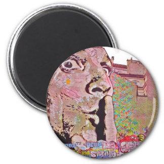 Paris graffiti Pomipidou Museum 2 Inch Round Magnet