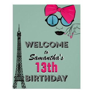 Paris Happy Birthday Welcome Poster Sign