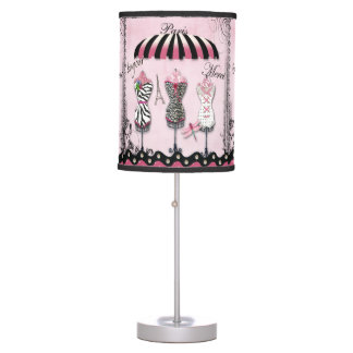 Paris Haute Couture, Eiffel Tower & Dragonfly Table Lamp