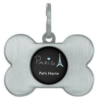 Paris Heart Eiffel Tower Pet Name Tag
