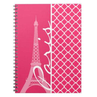 Paris; Hot Pink Moroccan Quatrefoil Spiral Notebook