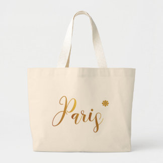 Paris-in-Gold-with-Flower Large Tote Bag