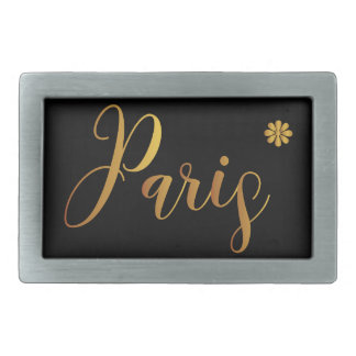 Paris-in-Gold-with-Flower Rectangular Belt Buckle