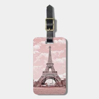 Paris in Pink Eiffel Tower Luggage Tag