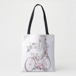 Paris in Pink Vintage Tote Bag