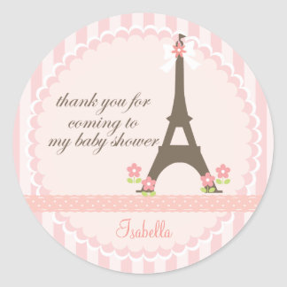 Paris in Spring Girly Baby Shower Favor Classic Round Sticker