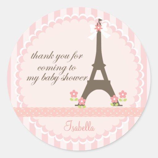 Paris in Spring Girly Baby Shower Favor Round Sticker