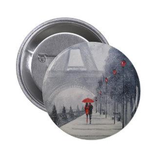Paris in the snow 2 inch round button