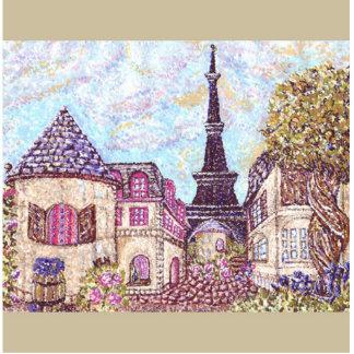 Paris Inspired Pointillism Eiffel Tower Pin Brooch Photo Sculpture Button