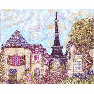 Paris inspired pointillism pin photo sculpture button