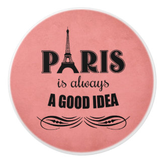 Paris is always a good idea ceramic knob