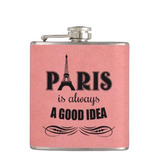 Paris is always a good idea hip flask