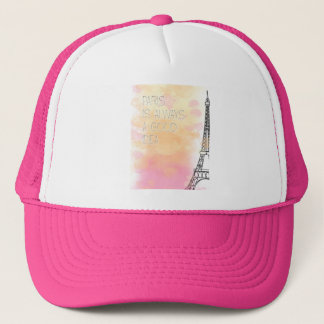 PARIS IS always good idea, watercolor Trucker Hat
