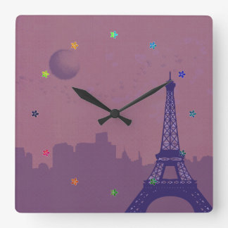 Paris j'adore square wall clock