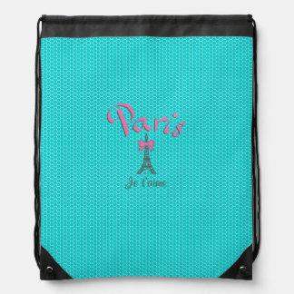 Paris Je t'aime on aqua honeycomb background Drawstring Bag