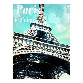 'Paris je t'aime' Retro Eiffel Tower Post Card