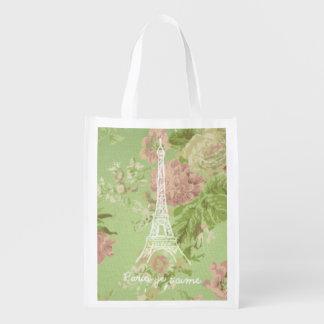 Paris, je t'aime Vintage Floral Eiffel Tower Grocery Bags