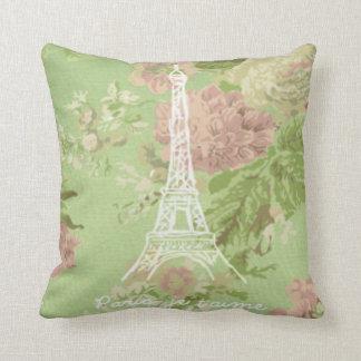 Paris, je t'aime Vintage Floral Eiffel Tower Throw Pillow