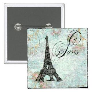 Paris La Tour Eiffel French Design 2 Inch Square Button