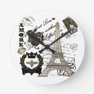 Paris: La Tour Eiffel Round Clock