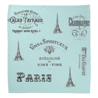 Paris Label Collage Aqua Bandana