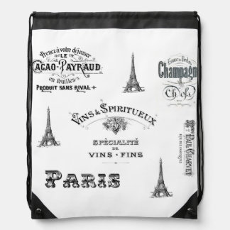 Paris Label Collage Drawstring Backpack