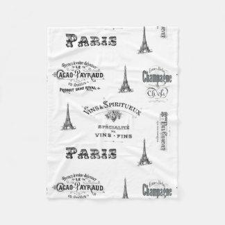 Paris Label Collage Fleece Blanket
