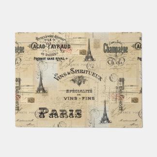 Paris Label Collage French Postcard Doormat