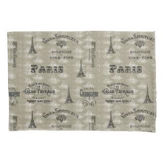 Paris Label Collage Taupe Damask Pillowcase