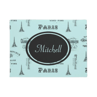 Paris Label French Aqua Personalized Doormat