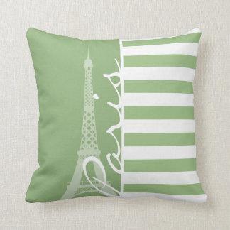 Paris; Laurel Green Horizontal Stripes Throw Pillow