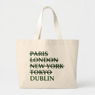 Paris London NYC Tokyo Dublin Large Tote Bag