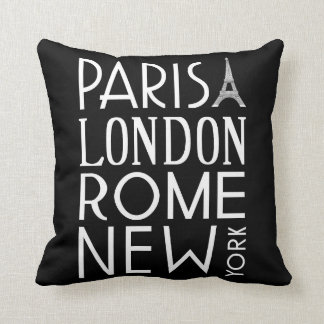 Paris, London, Rome and New York Pillow