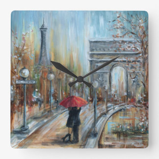 Paris Lovers Square Wall Clock