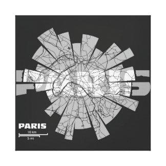 Paris Map Wrapped Canvas