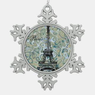 Paris Marble Blue Design Snowflake Pewter Christmas Ornament