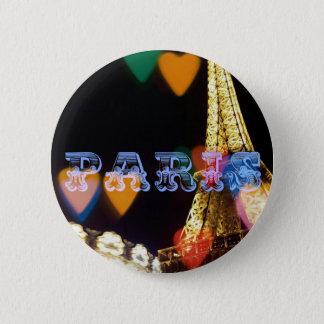 paris neon hearts lights 2 inch round button